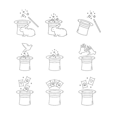 conjurer: Set of vector line magician icons.Magic hat,wand,rabbit,dove,playing cards