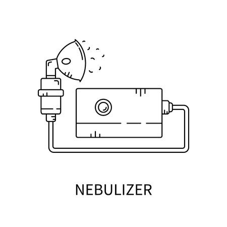 Nebulizador de asma y de la ilustración diseases.Vector respiratoria.