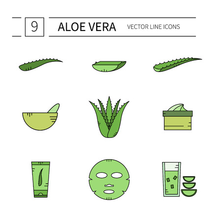 vera: Set of Aloe Vera line icons.Vector illustration.