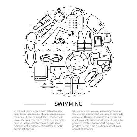 swim cap: Flyer in line style.Swimming line icon vector illustration. Illustration