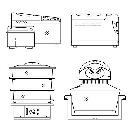 bread maker: Kitchen multicooker machine,aerogrill,steam, bread maker. Illustration