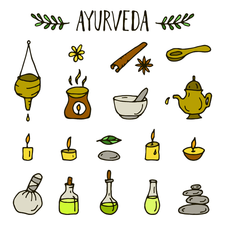 ayurvedic: Set of hand drawn ayurvedic icons.Vector illustration.