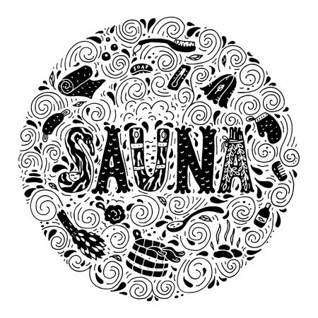 sauna: Vector background in circle shape with cartoon hand drawn sauna objects and hand lettering.