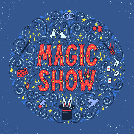 Magic trick performance, circus, show concept. Hand drawn vector illustration. Illustration
