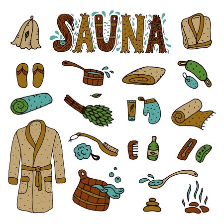 sauna: Vector  hand drawn sauna objects and hand lettering.