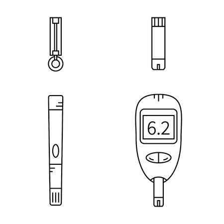 Icone di linea insieme di misuratore di glucosio, Lancet, pungidito e strisce reattive.