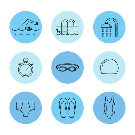competitions: Swimming line icons set isolated on white background vector illustration.