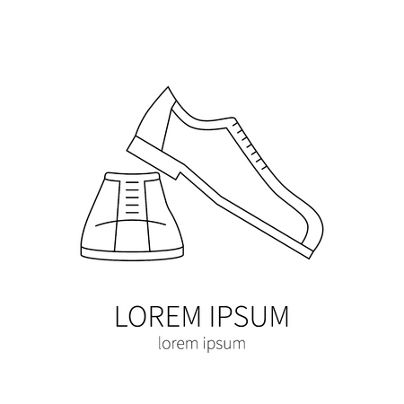 snickers: Sport  shoes  line icon isolated on white background vector illustration.