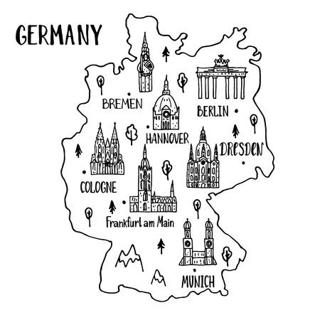メイン シンボルと主要都市のレタリングでドイツの手描き地図。 ポスターのデザインやポストカードのイラスト。