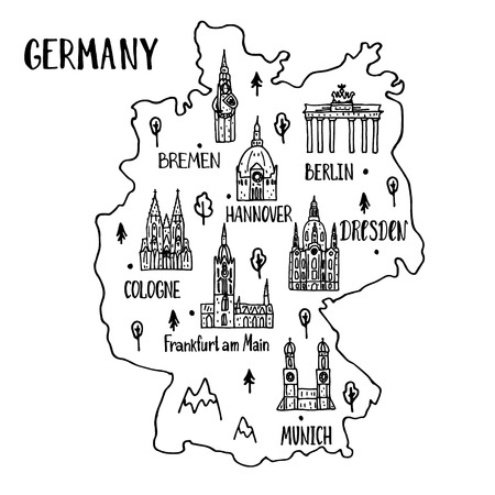 Handdrawn map of Germany with main symbols and lettering of main cities.  Poster design or postcard illustration. Иллюстрация