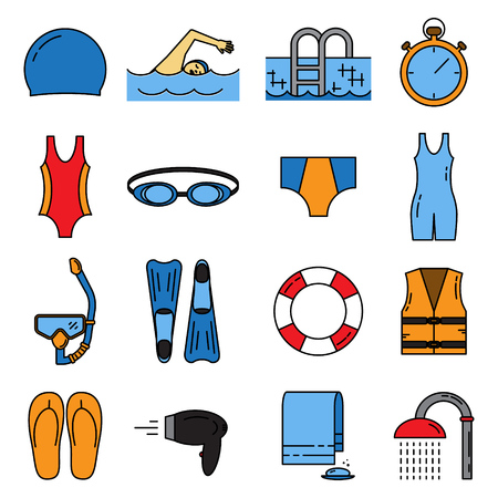 Swimming line icons set isolated on white background vector illustration.