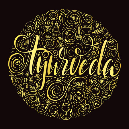 Hand drawn round ayurveda background.Ayurveda healthcare and treatment concept for your design.