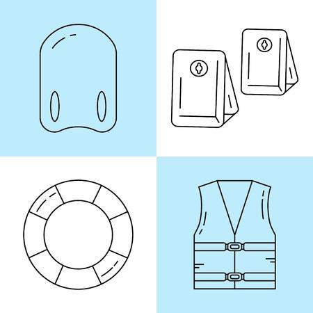 arm bands: Line icons set isolated on white background vector illustration.Swimming arm bands,kickboard,life vest,lifebuoy.