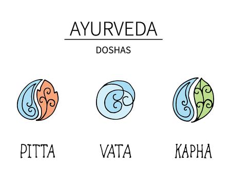 アーユルヴェーダの要素とドーシャ ヴァータ、ピッタ、カパ。代替医療。インド医学です。包括的なシステムです。  イラスト・ベクター素材