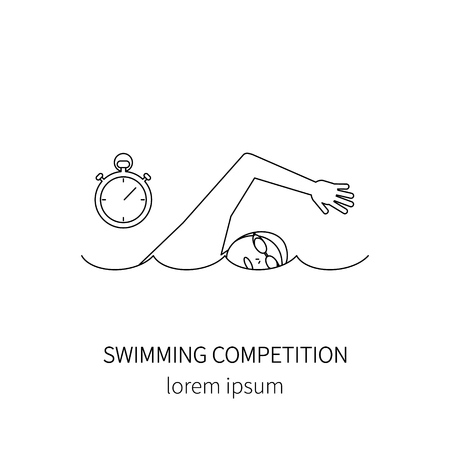 swim cap: Swimmer  line icon isolated on white background vector illustration. Illustration