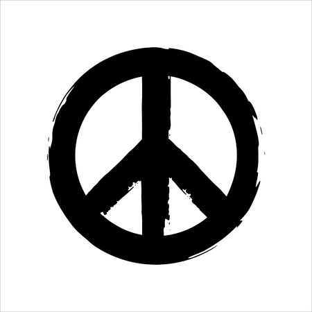 social movement: Isolated hand drawn peace symbol brush style composition.