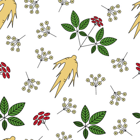 oriental medicine: Seamless pattern with  Panax Ginseng.Vector illustration in line style.