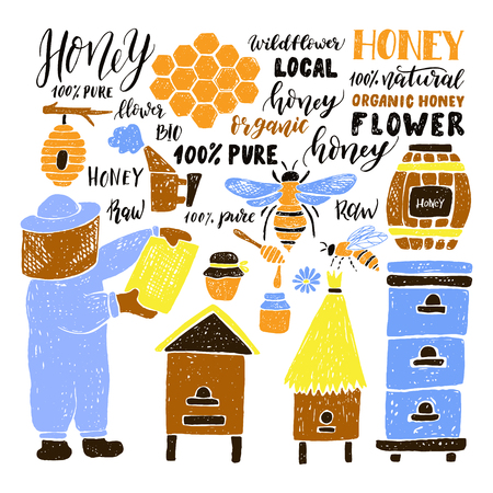 Hand drawn honey set.Beehive and honey. Honeycomb. Bottle with honey. Beekeeper with honey. Illustration