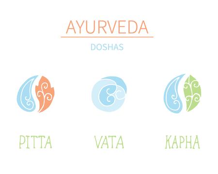 massage symbol: Ayurvedic elements and doshas vata, pitta, kapha.Alternative medicine. Indian medicine. Holistic system.