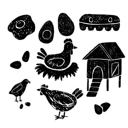 Farm hand drawn animals.Quail,chicke.Vector hand drawn illustration. Ilustração