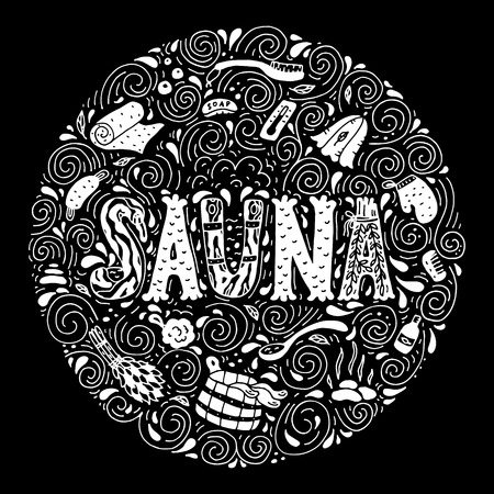 Vector background in circle shape with cartoon hand drawn sauna objects and hand lettering.