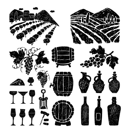Hand drawn set of wine products.Vector illustration.