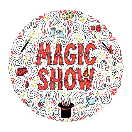 Magic trick performance, circus, show concept. Hand drawn vector illustration. Stock Illustratie