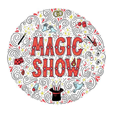 Magic trick performance, circus, show concept. Hand drawn vector illustration. Illustration