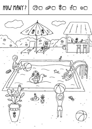 Vector illustration of counting game. Count how many balls,  swimming goggles,pineapples,glasses,flowers? Illustration