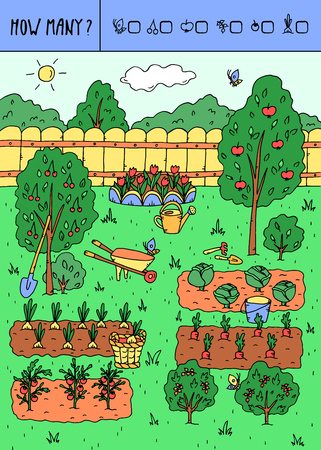 Vector illustration of counting game. Count how many butterflies, cherries, apples, currants, tomatoes, onions? Vettoriali