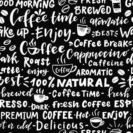 コーヒーについての単語のシームレスなパターン。手文字で描かれたイラストを手します。カフェ、バー、壁紙、包装紙に最適です。