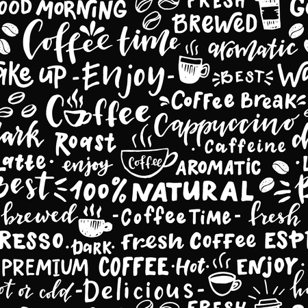 Seamless pattern of words about coffee. Hand drawn illustration with hand lettering. Great for cafe, bars, wallpaper, wrapping paper.