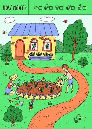Vector illustration of counting game. Count how many flowers,butterflies? Illustration