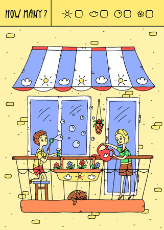 Vector illustration of counting game. Count how many suns,clouds,bubbles,flowers?