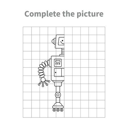 ロボットの画像を完了します。ページを着色。子供教育的なゲーム。