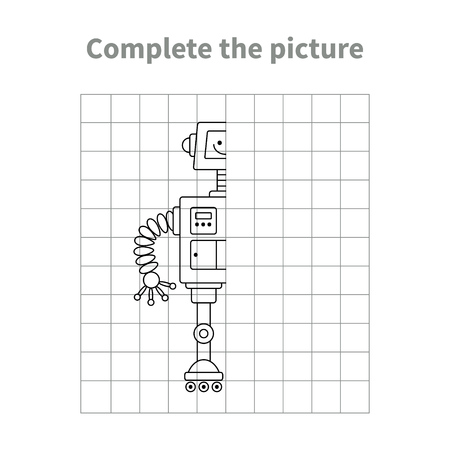 Complete the picture of robot.Coloring page.Children educational game.