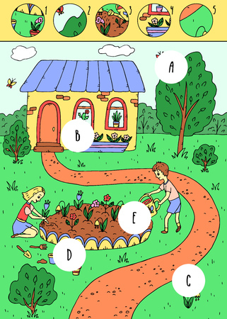 Find missing pieces. Puzzle education game for children.