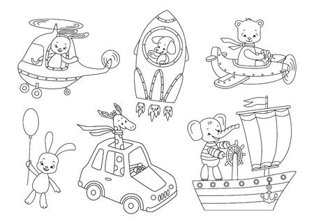 Set of cute animals and transport.Vector illustration. Stock Illustratie
