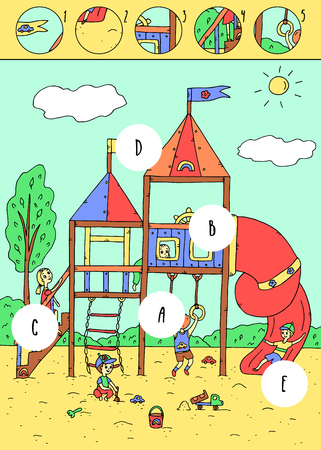 Find missing pieces.Puzzle education game for children.