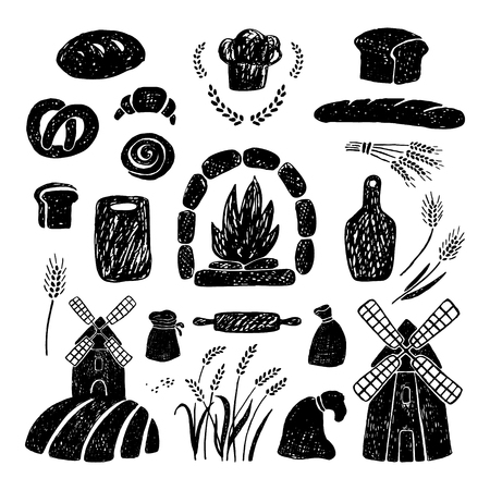 Hand drawn vector illustration of bakery products, windmills.