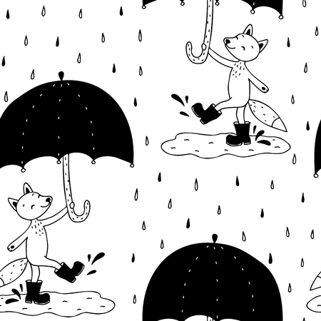 Hand drawn seamless pattern with cute fox with umbrella.