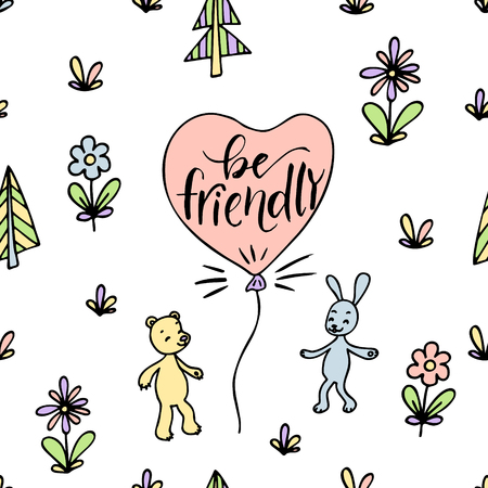 Seamless pattern of cute bear and rabbit. Hand drawn lettering. Be friendly. Иллюстрация
