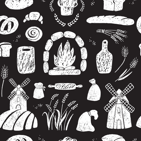 Hand drawn seamless pattern of bakery products, windmills.