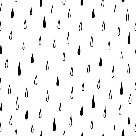 Hand drawn seamless pattern of rain. Vector illustration. Иллюстрация