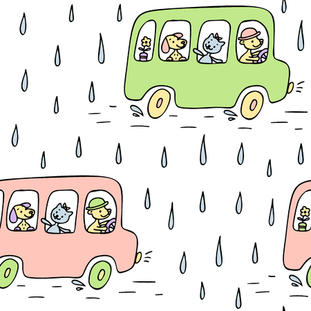 Hand drawn seamless pattern with bus, cute animals.