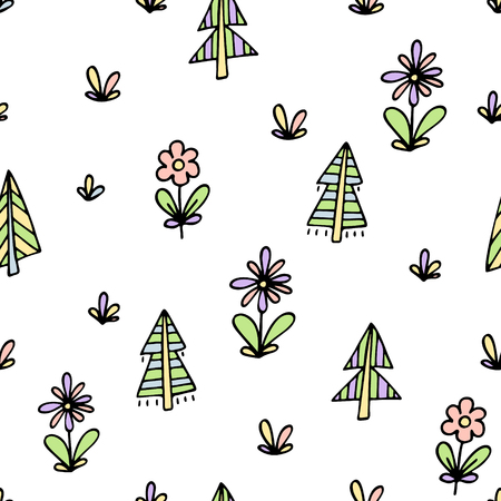 Hand drawn seamless pattern with trees and flowers. Иллюстрация