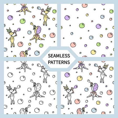 Set of seamless patterns with cute deer and hedgehog.