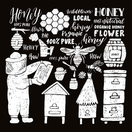 Hand drawn honey set.Beehive and honey. Honeycomb. Bottle with honey. Beekeeper with honey. Иллюстрация