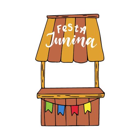 Festa Junina card. Hand drawn vector illustration.