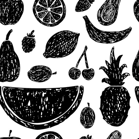 Seamless pattern of hand drawn fruits and berries.Vector illustration.